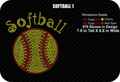 SOFTBALL 1 ,TTF Rhinestone Fonts & Rhinestone Designs