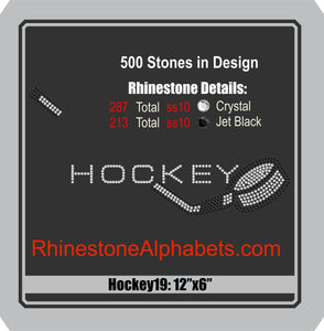 Hockey 19 ,TTF Rhinestone Fonts & Rhinestone Designs