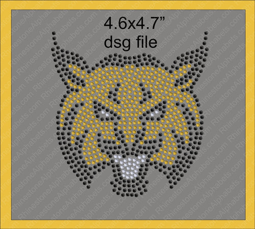 Wildcat 2 Mascot for .dsg file Rhinestone TTF  Alphabets and Rhinestone Designs