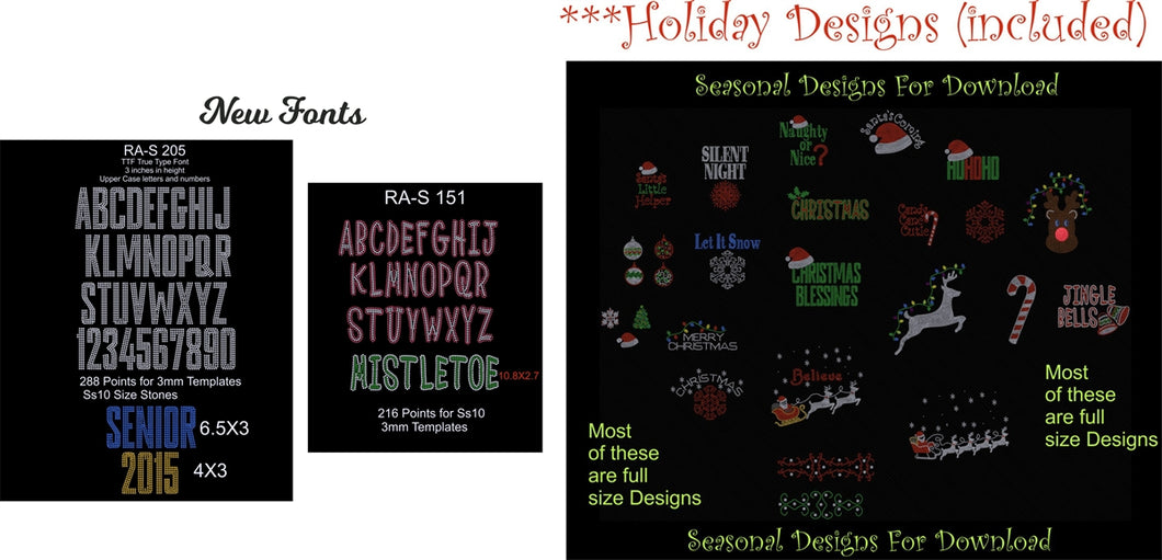 Holiday Deal 2 ,TTF Rhinestone Fonts & Rhinestone Designs
