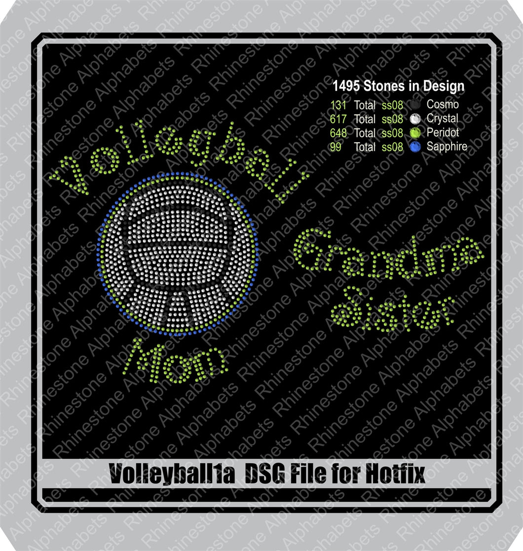 Volleyball 1a and b Hotfix DSG File Only! Rhinestone TTF  Alphabets and Rhinestone Designs