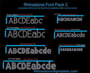 Font Pack 2 Download Only ,TTF Rhinestone Fonts & Rhinestone Designs
