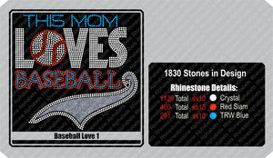 Baseball Love 1 ,TTF Rhinestone Fonts & Rhinestone Designs