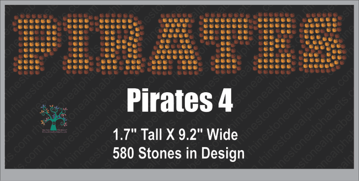 Pirates Word 4 ,TTF Rhinestone Fonts & Rhinestone Designs