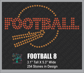 Football Design 8 ,TTF Rhinestone Fonts & Rhinestone Designs
