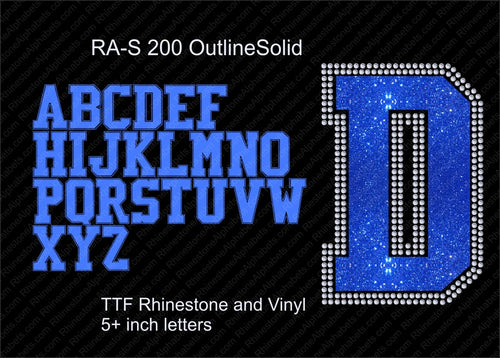 RA-S 200 OutlineSolid TTF RHINESTONE COMBO FONT soon! ,TTF Rhinestone Fonts & Rhinestone Designs