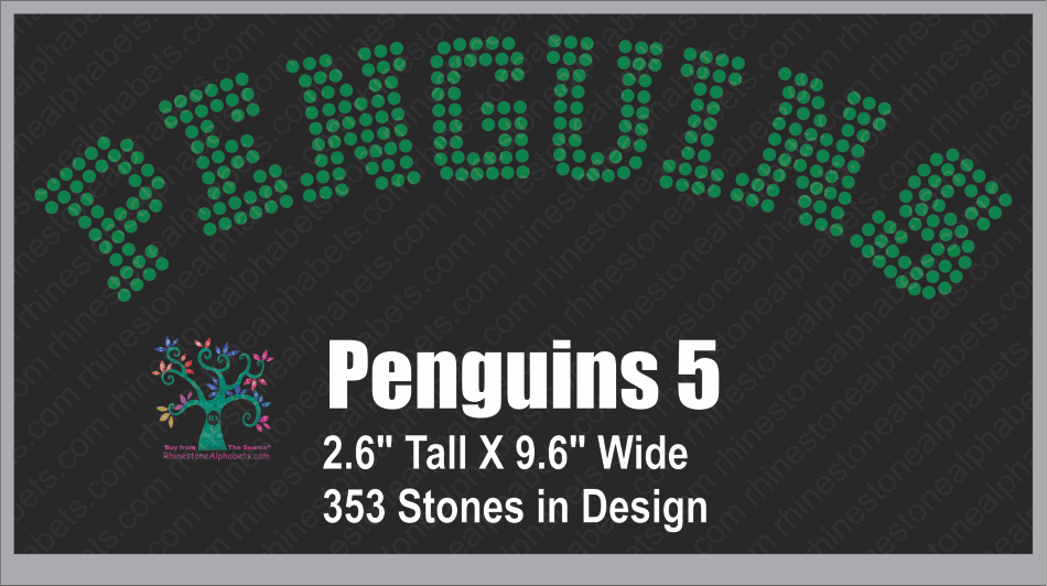 Penguins Word 5 ,TTF Rhinestone Fonts & Rhinestone Designs