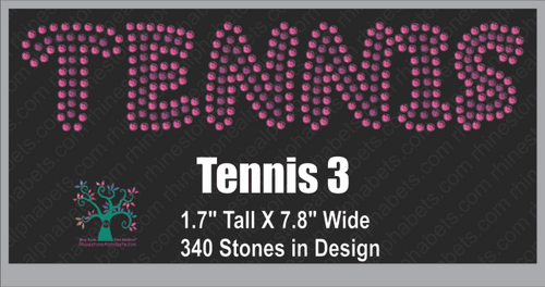 Tennis Word 3 ,TTF Rhinestone Fonts & Rhinestone Designs