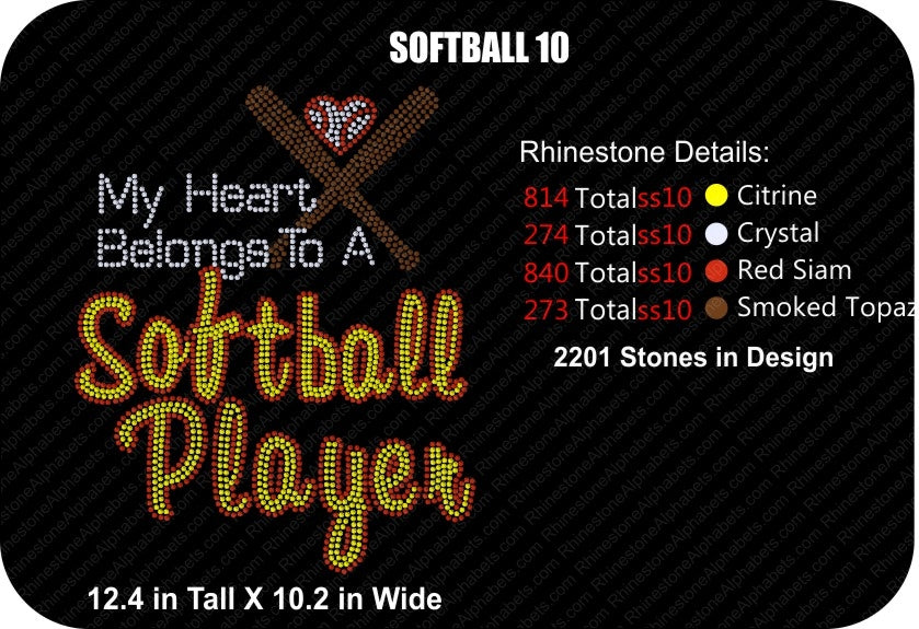 SOFTBALL 10 ,TTF Rhinestone Fonts & Rhinestone Designs