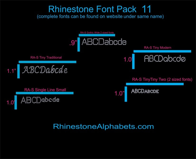 Font Pack 11 Download Only ,TTF Rhinestone Fonts & Rhinestone Designs