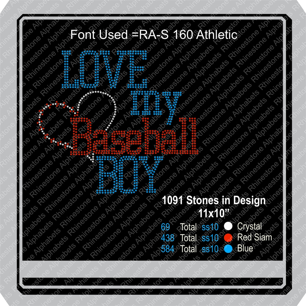 Love my baseball boy1 ,TTF Rhinestone Fonts & Rhinestone Designs