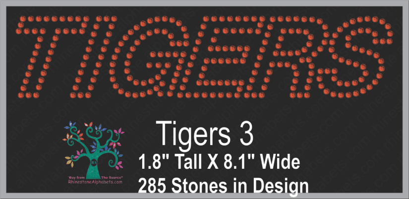 Tigers Word 3 ,TTF Rhinestone Fonts & Rhinestone Designs