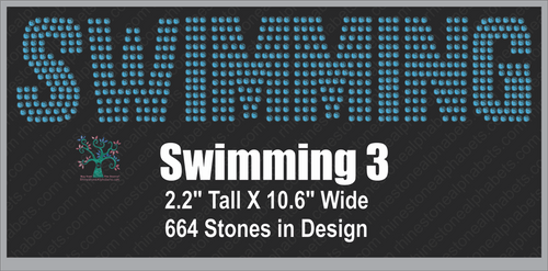 Swimming  Word 3 ,TTF Rhinestone Fonts & Rhinestone Designs