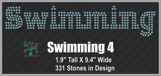 Swimming  Word 4 ,TTF Rhinestone Fonts & Rhinestone Designs