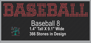 Baseball Word 8 ,TTF Rhinestone Fonts & Rhinestone Designs