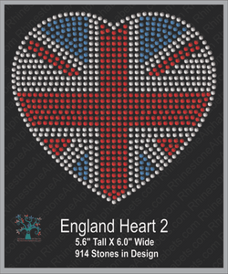 Great Britain: Flag Heart 2 (medium) ,TTF Rhinestone Fonts & Rhinestone Designs