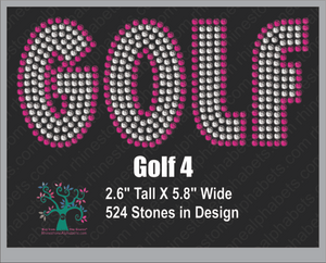 Golf Word 4 ,TTF Rhinestone Fonts & Rhinestone Designs
