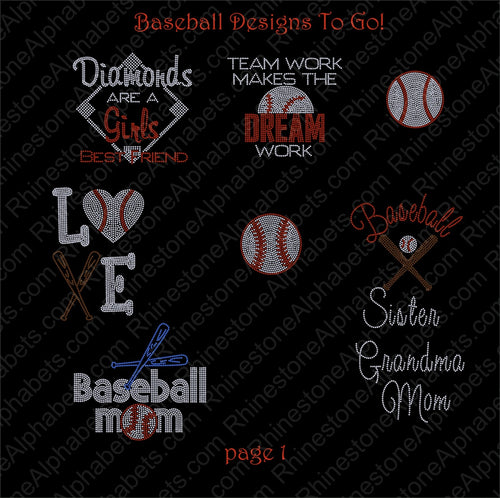 Baseball Softball Package ,TTF Rhinestone Fonts & Rhinestone Designs