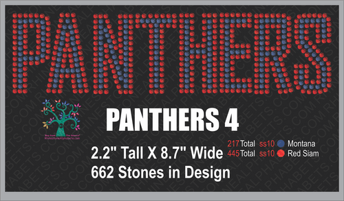 Panthers Word 4 ,TTF Rhinestone Fonts & Rhinestone Designs