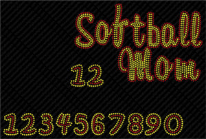 SOFTBALL 7 ,TTF Rhinestone Fonts & Rhinestone Designs
