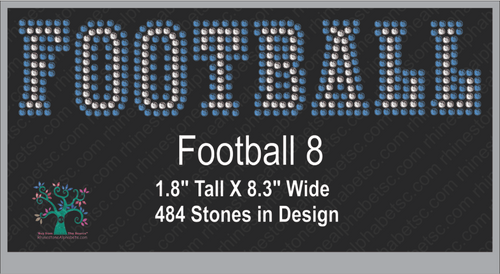 Football Word 8 ,TTF Rhinestone Fonts & Rhinestone Designs