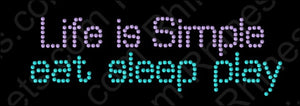 Life is Simple 4 ,TTF Rhinestone Fonts & Rhinestone Designs