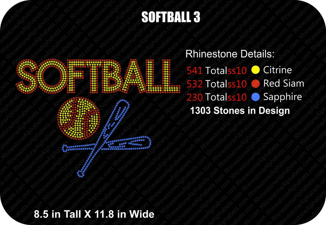 SOFTBALL 3 ,TTF Rhinestone Fonts & Rhinestone Designs