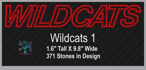Wildcats Word 1 Rhinestone TTF  Alphabets and Rhinestone Designs
