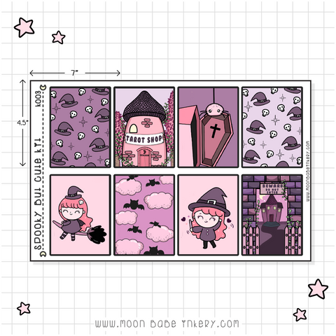 SPOOKY BUT CUTE STICKER KIT - 3 PAGE HAPPY PLANNER / EC KIT