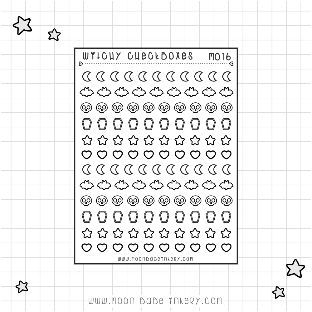 WITCHY CHECKLIST ICONS / BOXES - M016
