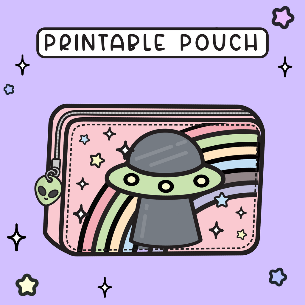 STAY WEIRD RAINBOW UFO - PRINTABLE POUCH (PP05)
