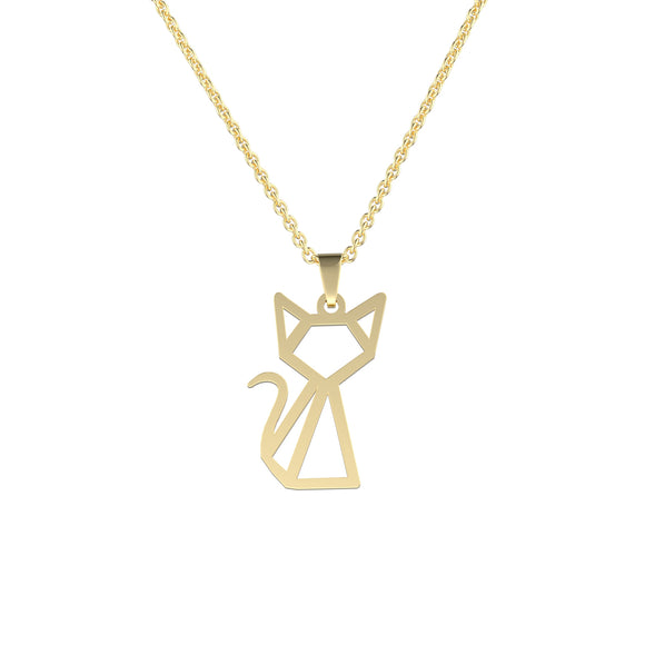 Stainless Steel Geometric/Origami Cat Necklace (Gold) - Ello Elli Online Store