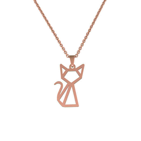 Stainless Steel Geometric/Origami Cat Necklace by Ello Elli (Rose Gold) - Ello Elli Online Store