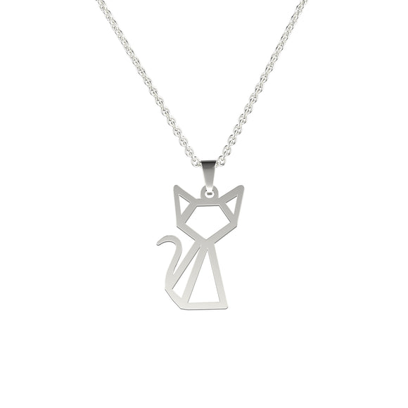 Stainless Steel Geometric/Origami Cat Necklace (Silver) - Ello Elli Online Store