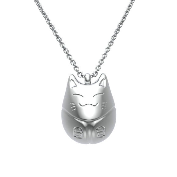 Stainless Steel Lucky Cat Necklace by Ello Elli (Silver) - Ello Elli Online Store