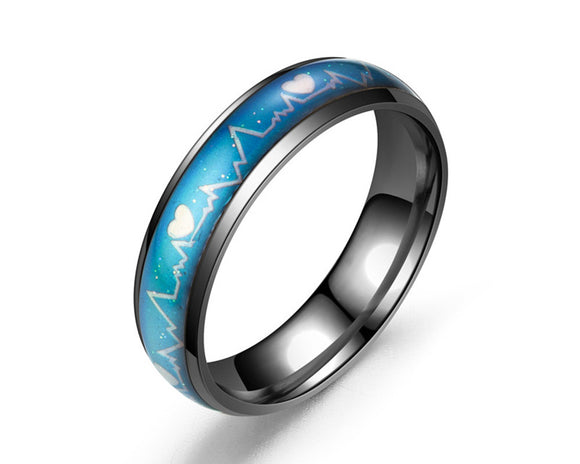 Color Changing Heartbeat Mood Ring (Black) - Ello Elli Online Store
