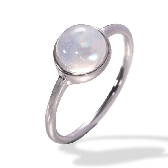 7mm Natural Moonstone Stainless-Steel Silver Tone Dainty Style Ring