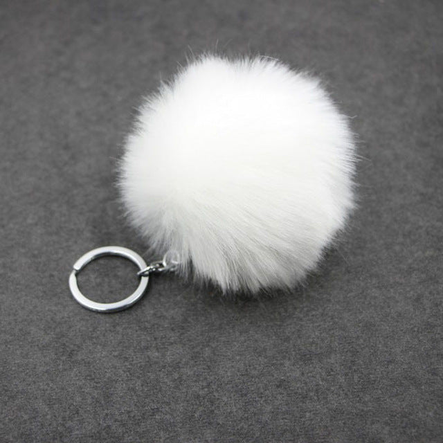 Faux Rabbit Fur Pom Pom Keychain