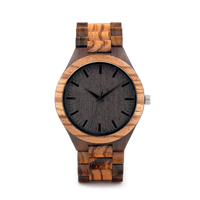 Vintage Zebra Wood Case Bamboo Watch