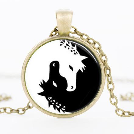 Beautiful Yin & Yang Horse Medallion