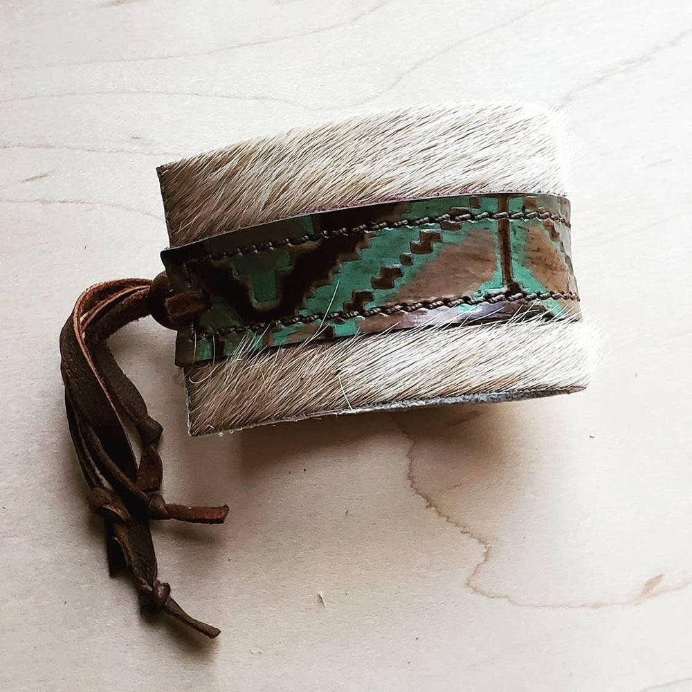 Cowhide Bracelet Leather Cuff Navajo Design - The Vintage Bohemian
