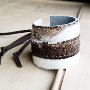 Cowhide Bracelet Leather Cuff - The Vintage Bohemian