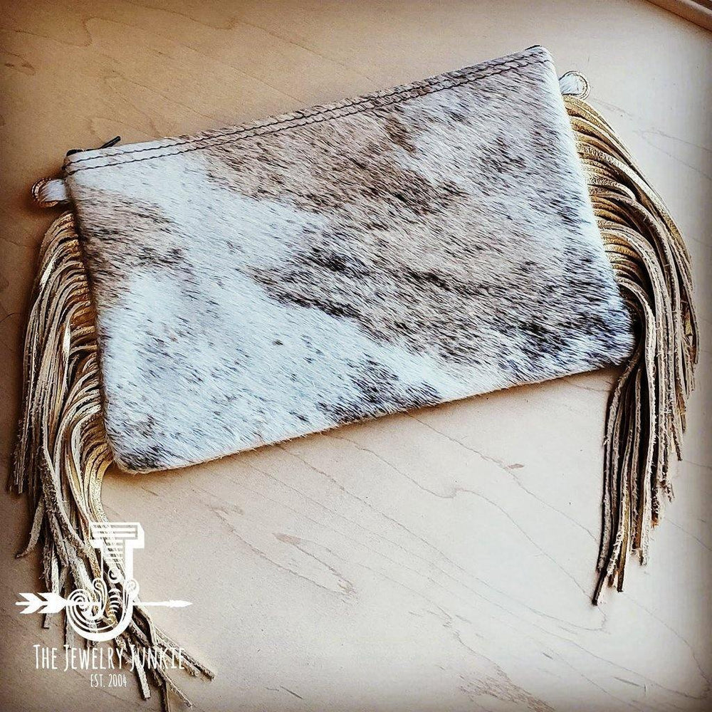 Cowhide Wristlet Cream and Gold - The Vintage Bohemian