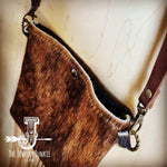 Cowhide Handbag Crossbody Brown Leather - The Vintage Bohemian