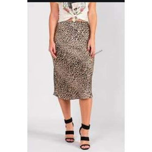 Load image into Gallery viewer, Band of Gypsies Leopard Print Slip Skirt - The Vintage Bohemian