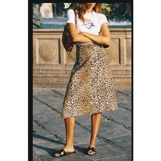 Band of Gypsies | Wild Thing Leopard Print Washed Satin Slip Skirt | The Vintage Bohemian