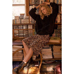 Band of Gypsies |  Wild Thing Leopard Print Washed Satin Slip Skirt