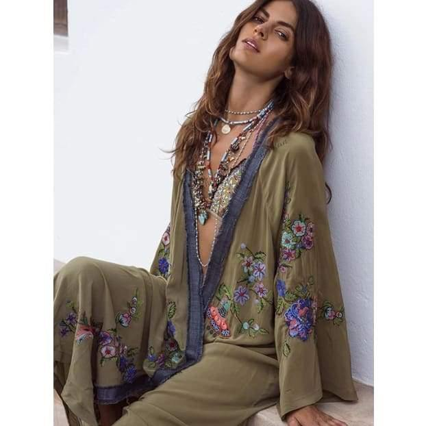 Load image into Gallery viewer, Cayenne Open Front Kimono - The Vintage Bohemian