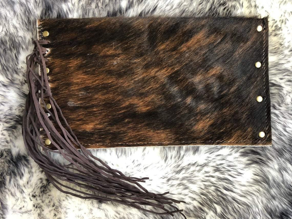 Cowhide Clutch Envelope Style with Leather Fringe - The Vintage Bohemian