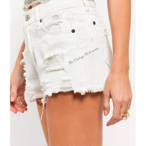 Distressed Denim Shorts - The Vintage Bohemian
